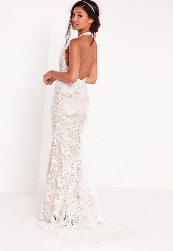 Bridal Halter Neck Lace Maxi Dress White | Missguided