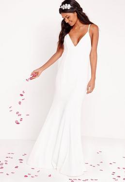 Robe de mariée longue blanche à fines bretelles
