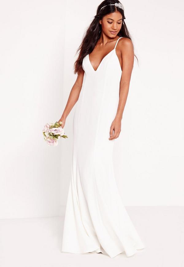 robe de mari e longue blanche fines bretelles missguided
