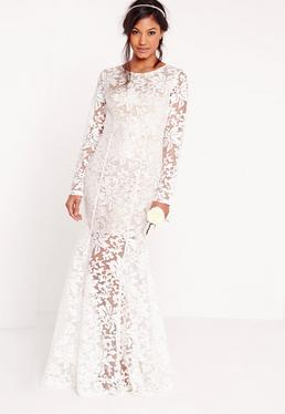 Ślubna biała koronkowa sukienka maxi z odkrytymi plecami