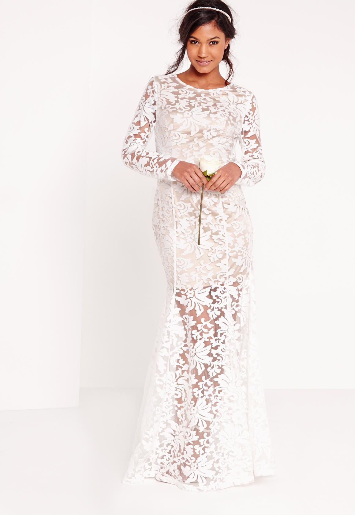 Bridal Lace Open Back Maxi Dress White