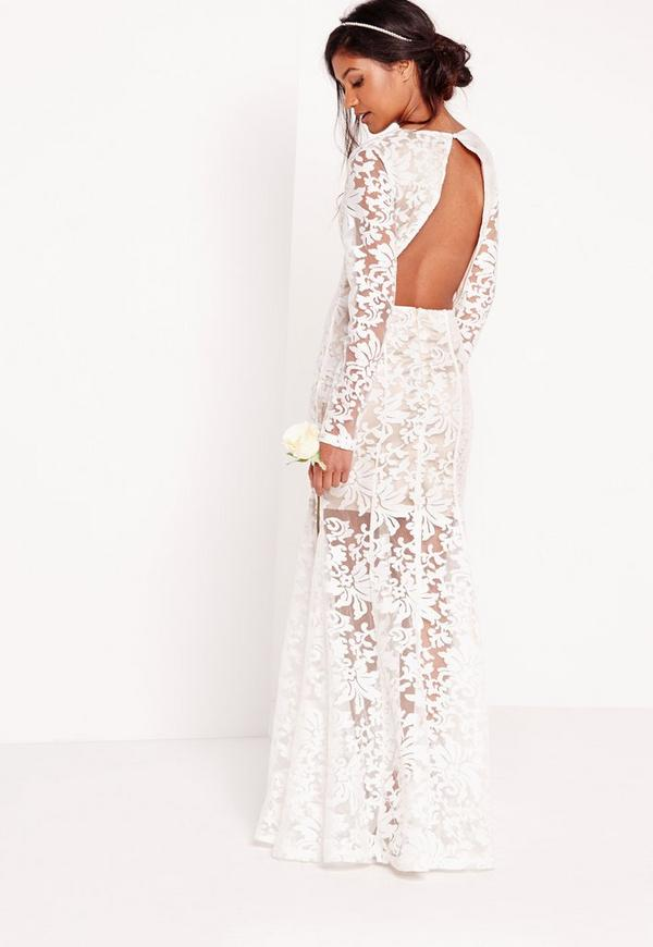 Bridal lace open back maxi dress white missguided for Lace maxi wedding dress