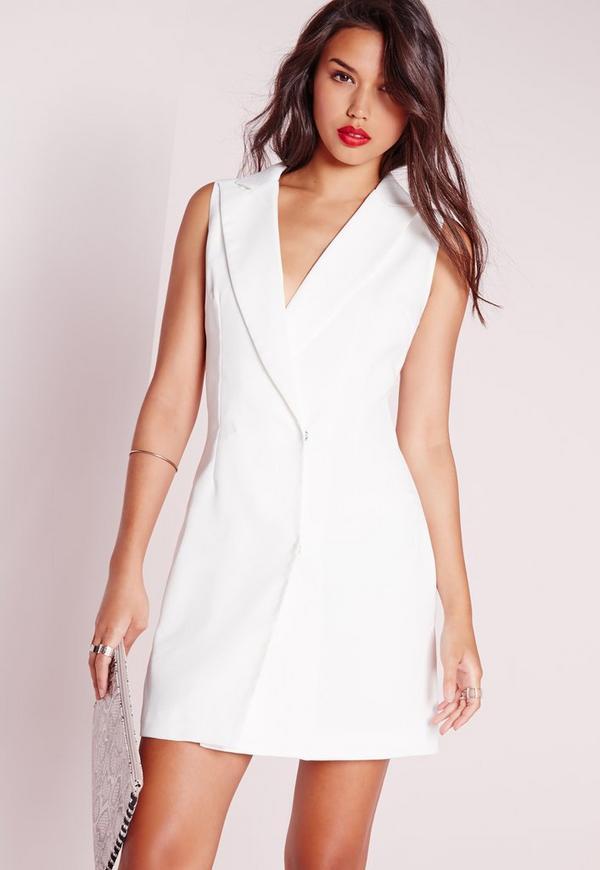 wrap over blazer dress white missguided. Black Bedroom Furniture Sets. Home Design Ideas