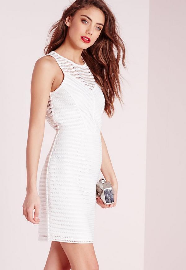 Mesh Stripe Bodycon Dress White