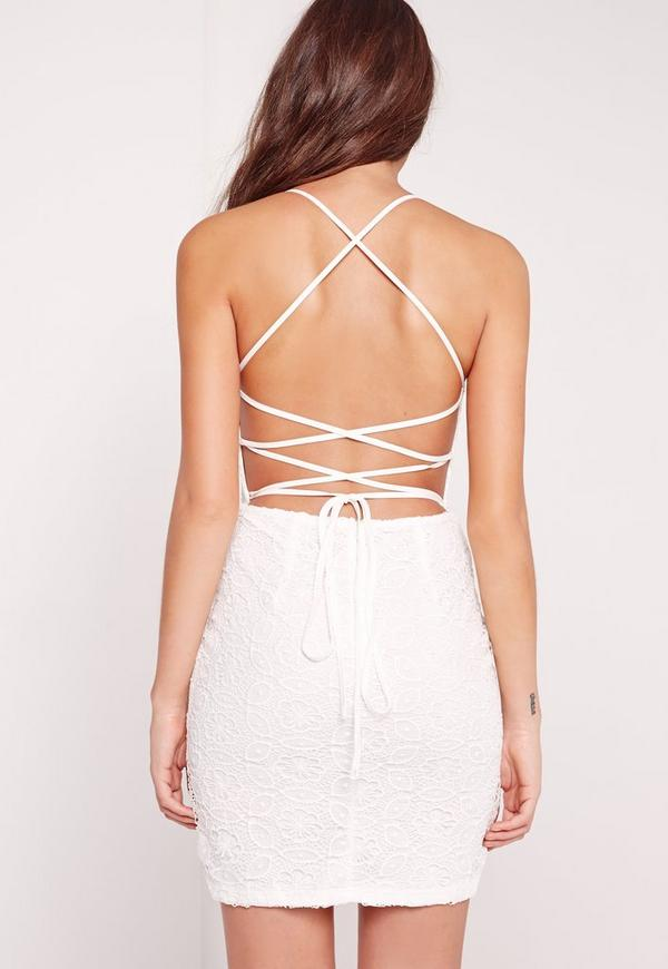 Strappy Lace Bodycon Dress White   Missguided