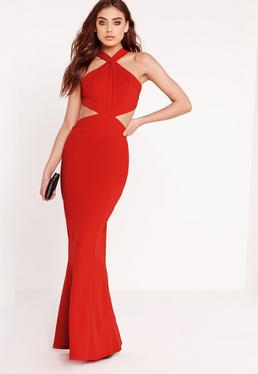 Cross Strap Cut Out Maxi Dress Red