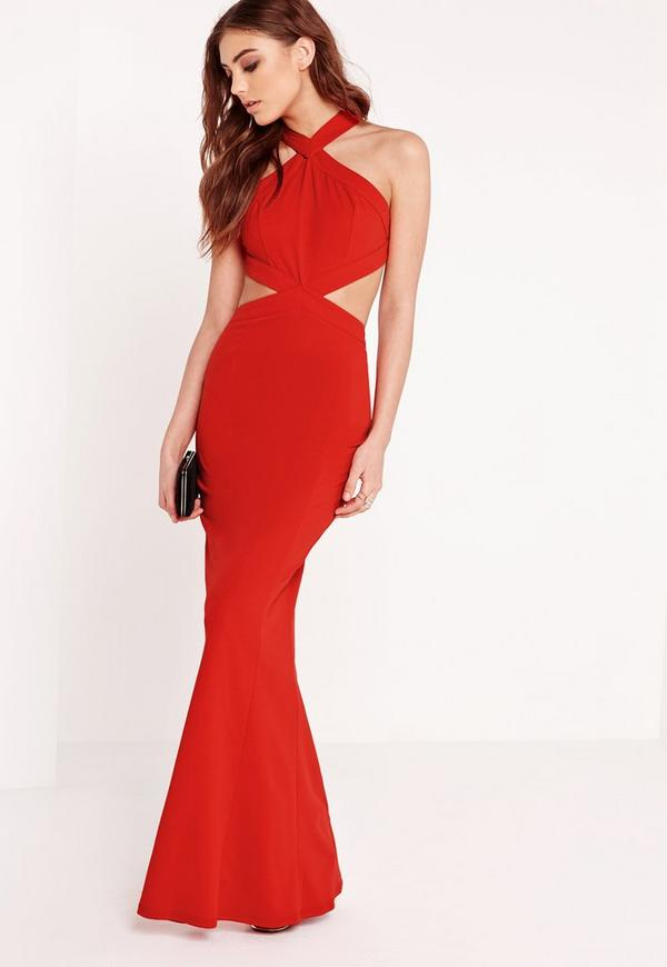 Cross Strap Cut Out Maxi Dress Red | Missguided