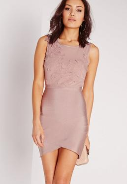 Premium Applique Detail Bandage Bodycon Dress Mauve