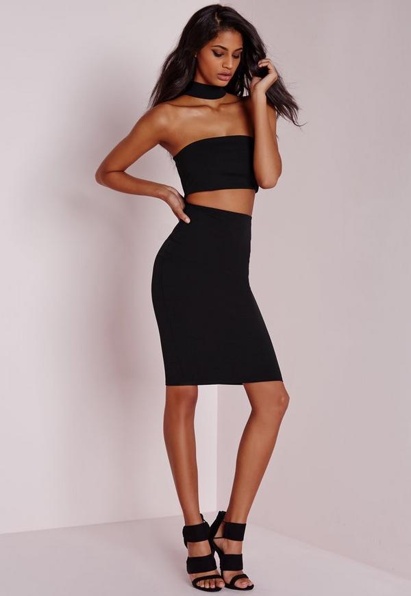 choker midi dress black