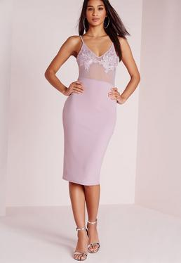 Embroidered Bust Detail Bodycon Dress Lilac