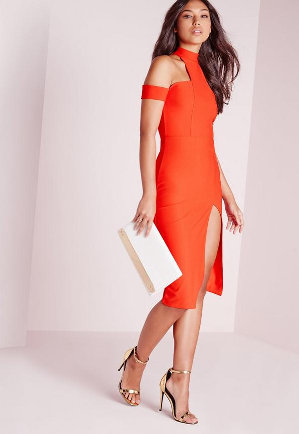 Cut Out Choker Midi Dress Orange