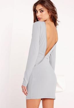 Langärmliges asymmetrisches Kleid mit Reißverschluss in Grau