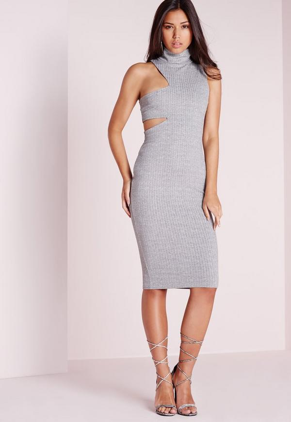 Cut Out Rib Roll Neck Dress Grey
