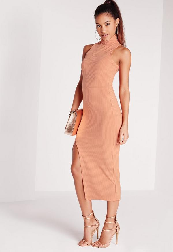 Ribbed Roll Neck Midi Dress Pink