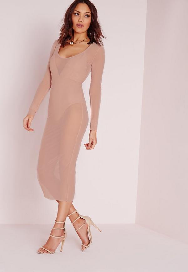 Mesh Scoop Front Midi Dress Nude
