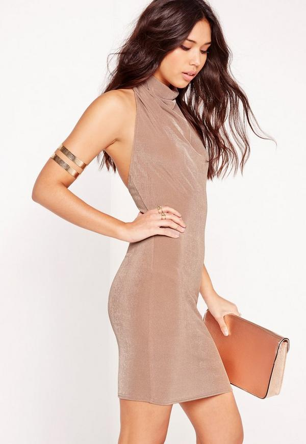 High Neck Slinky Bodycon Dress Pink