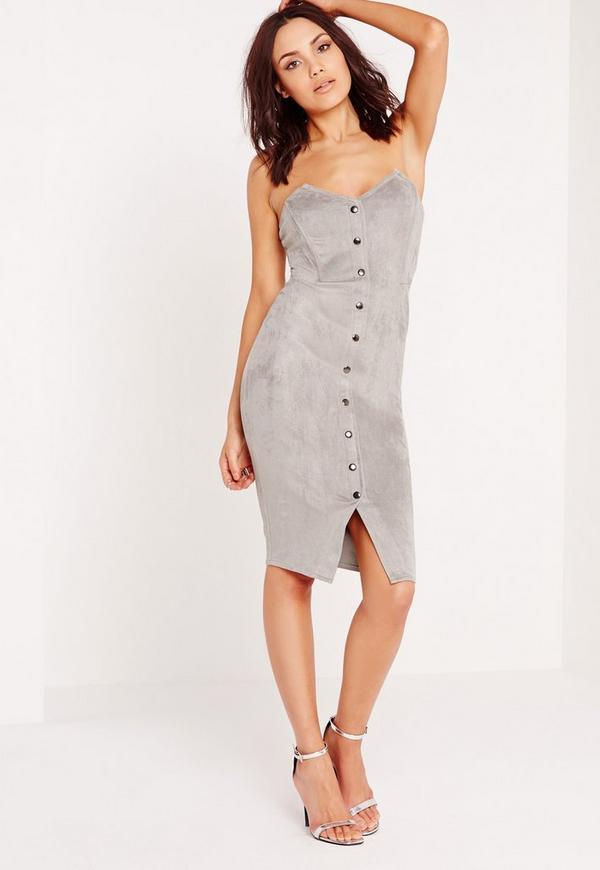 Faux Suede Bandeau Button Up Midi Dress Grey