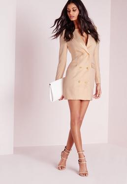 Beżowa sukienka żakietowa z długimi rękawami
