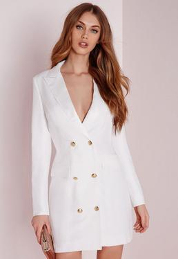 Biała sukienka żakietowa z długimi rękawami