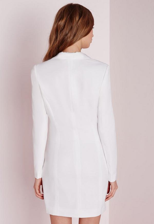 robe blazer blanche manches longues missguided. Black Bedroom Furniture Sets. Home Design Ideas