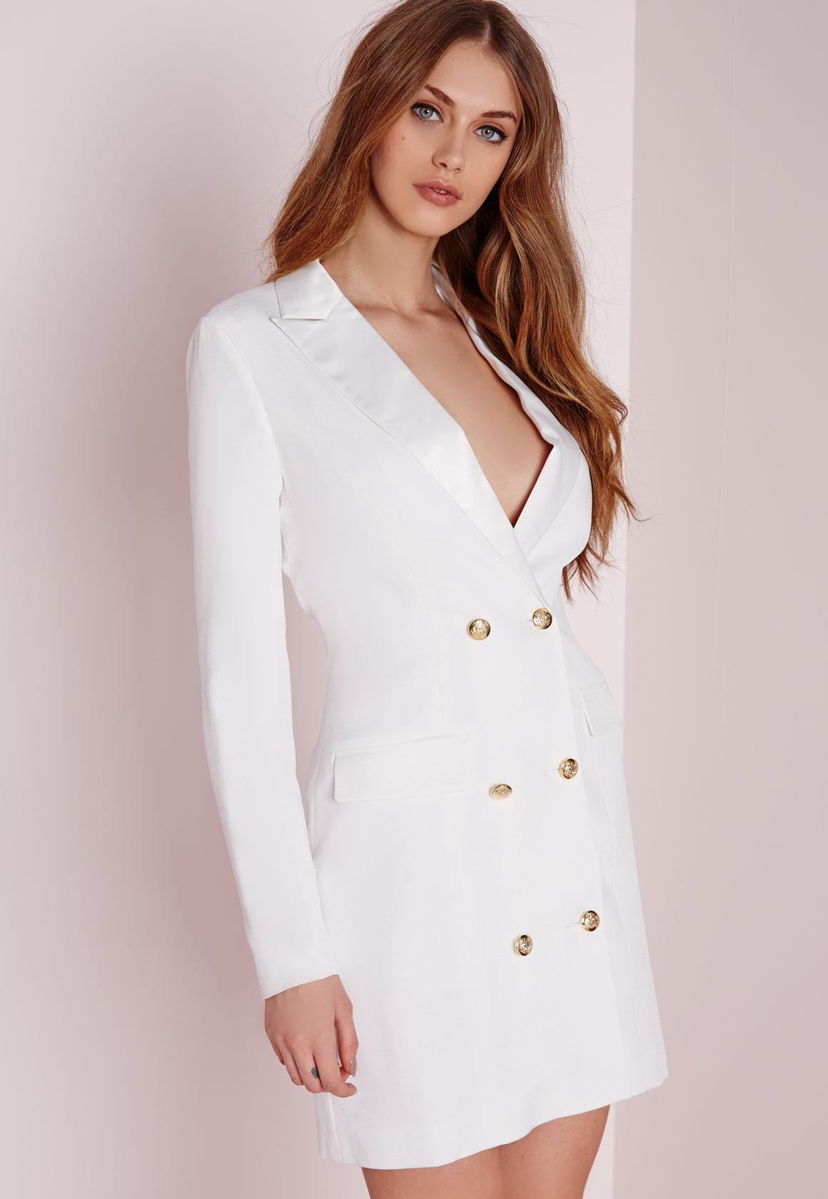 long sleeve tuxedo dress white