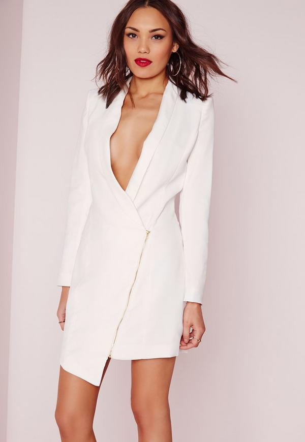 Long Sleeve Zip Detail Blazer Dress White | Missguided