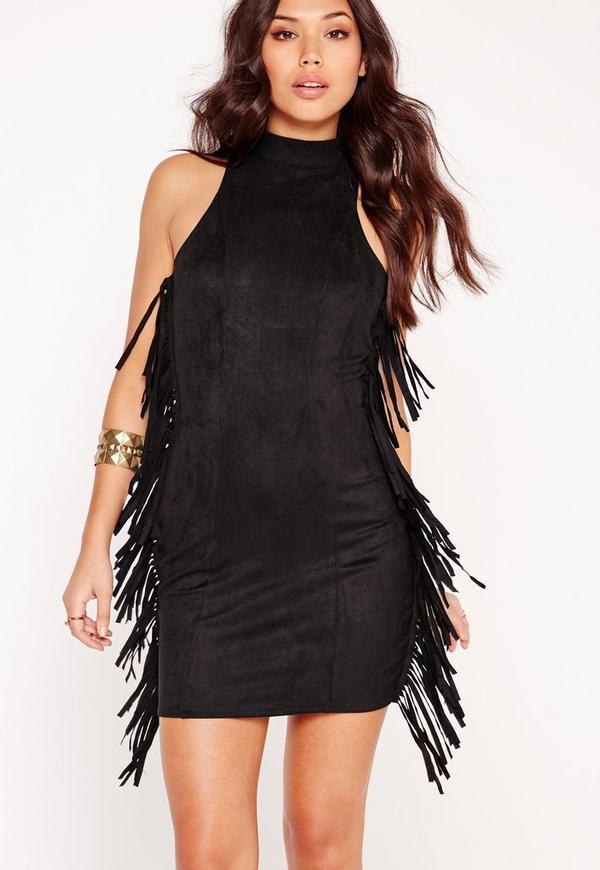 Faux Suede Tassel Bodycon Dress Black