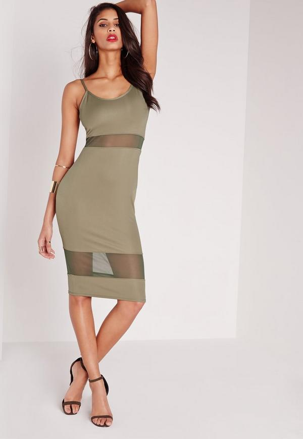 Strappy Mesh Inserts Bodycon Dress Khaki
