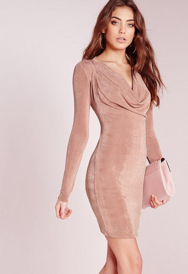 Slinky Cowl Front Bodycon Dress Rose