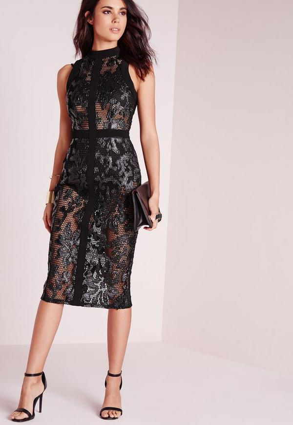 Faux Leather Detail Lace Midi Dress Black