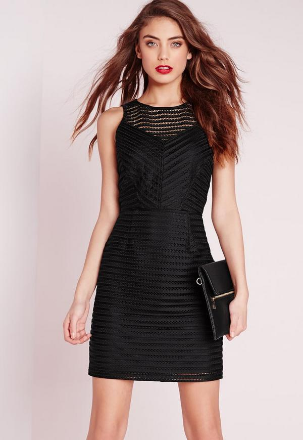 Mesh Stripe Bodycon Dress Black