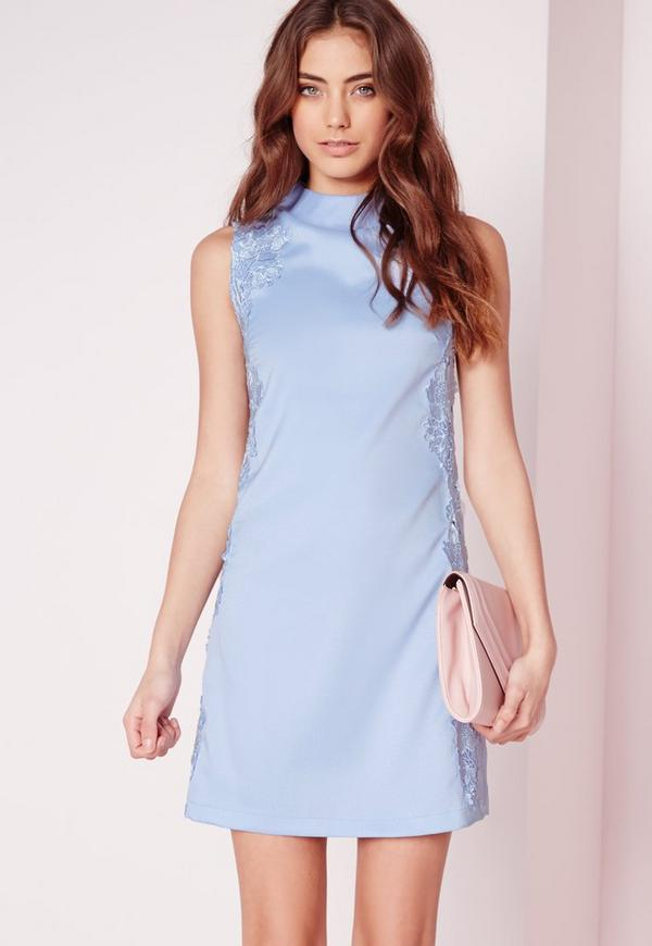 High Neck Lace Detail Shift Dress Powder Blue