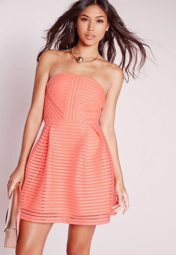 Crochet Lace Bandeau Prom Dress Pink