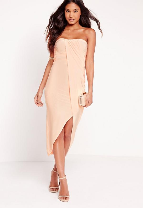 Strapless Ruched Midi Dress Nude