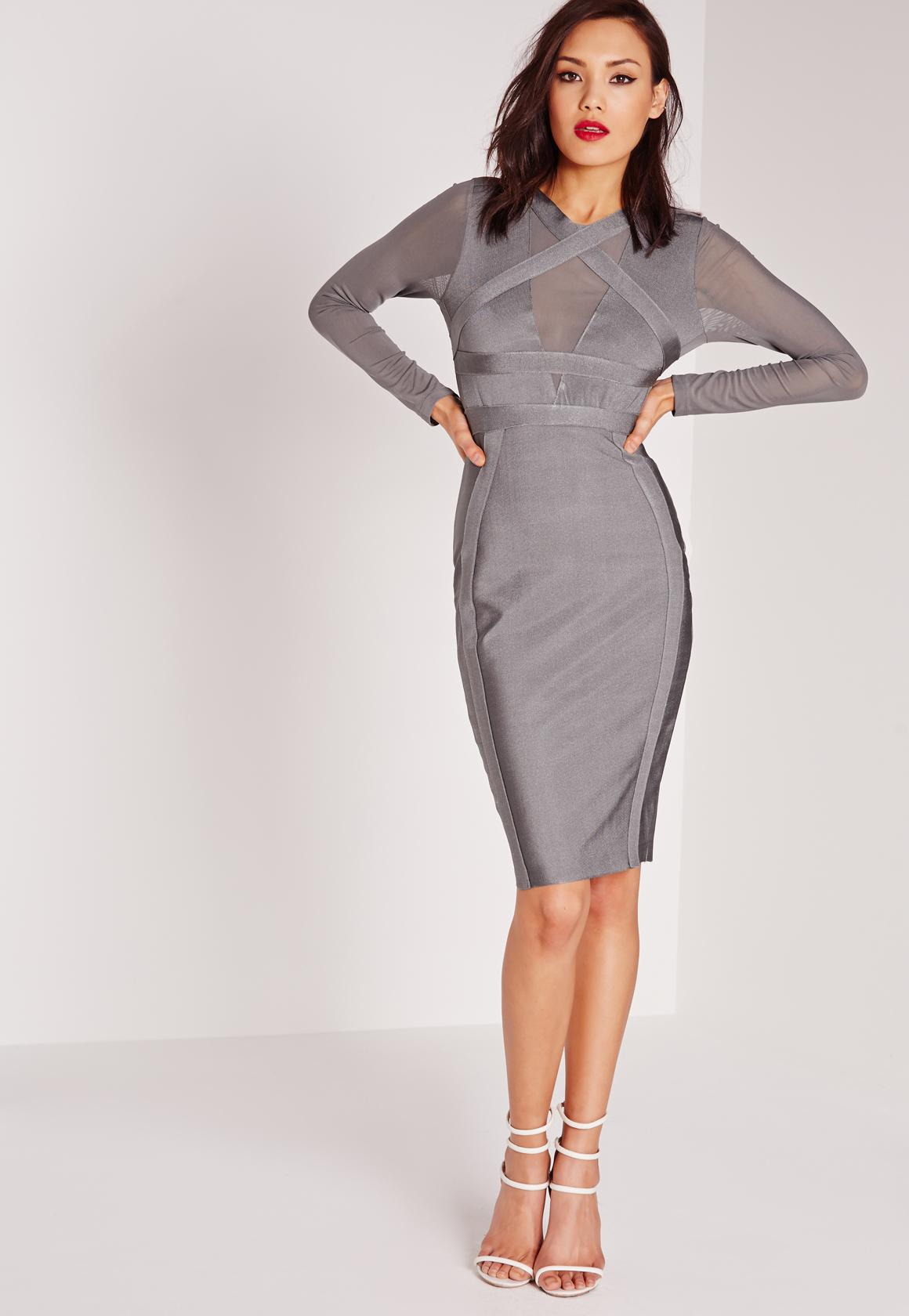 Premium Long Sleeve Bandage Bodycon Dress Grey | Missguided