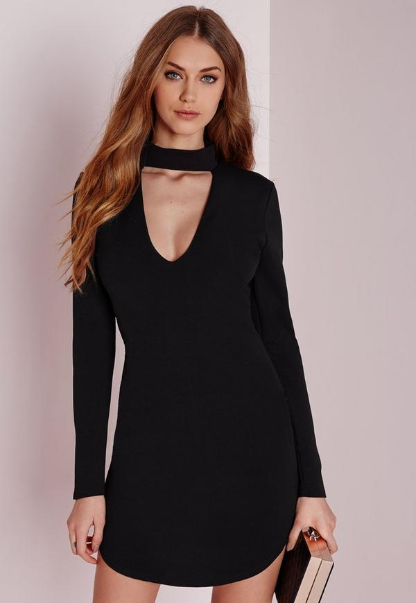 crepe choker curve hem cut out bodycon dress black