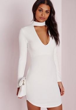 crepe choker curve hem cut out bodycon dress white