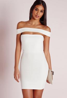 Cut Out Panel Bardot Bodycon Dress White