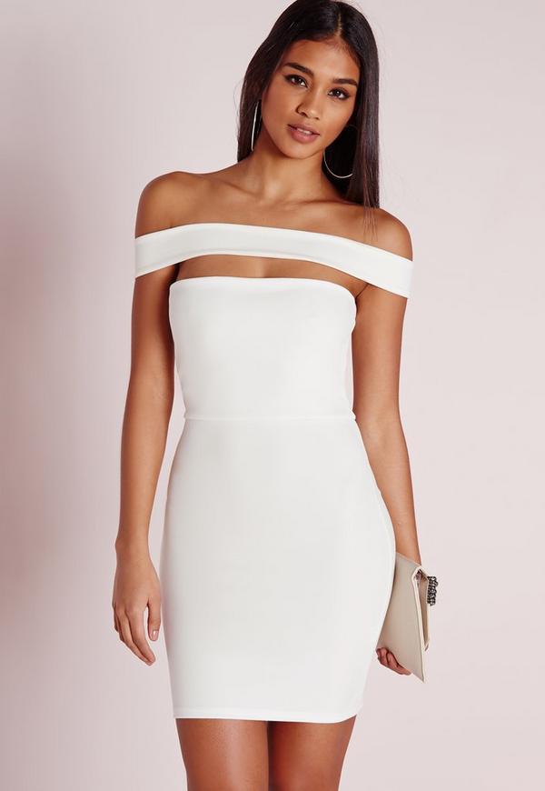 Cut Out Panel Bardot Bodycon Dress White