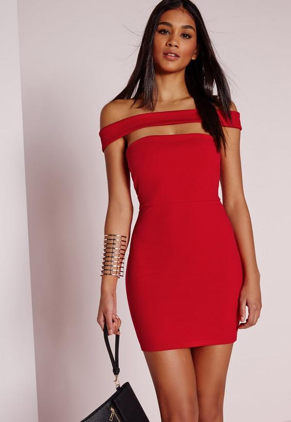Cut Out Panel Bardot Bodycon Dress Red