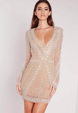 Premium Embellished Plunge Mini Dress White