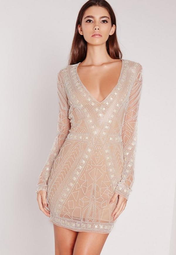 Premium Embellished Plunge Mini Dress White
