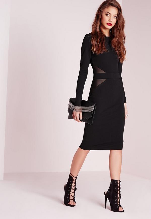 Mesh Back Long Sleeve Midi Dress Black