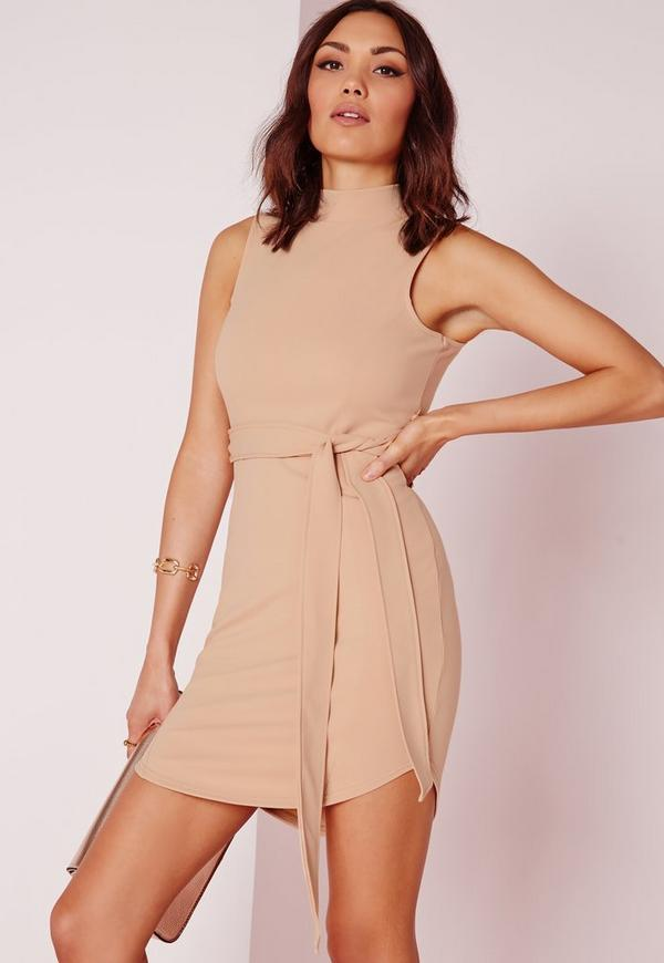 High Neck Belted Mini Dress Nude