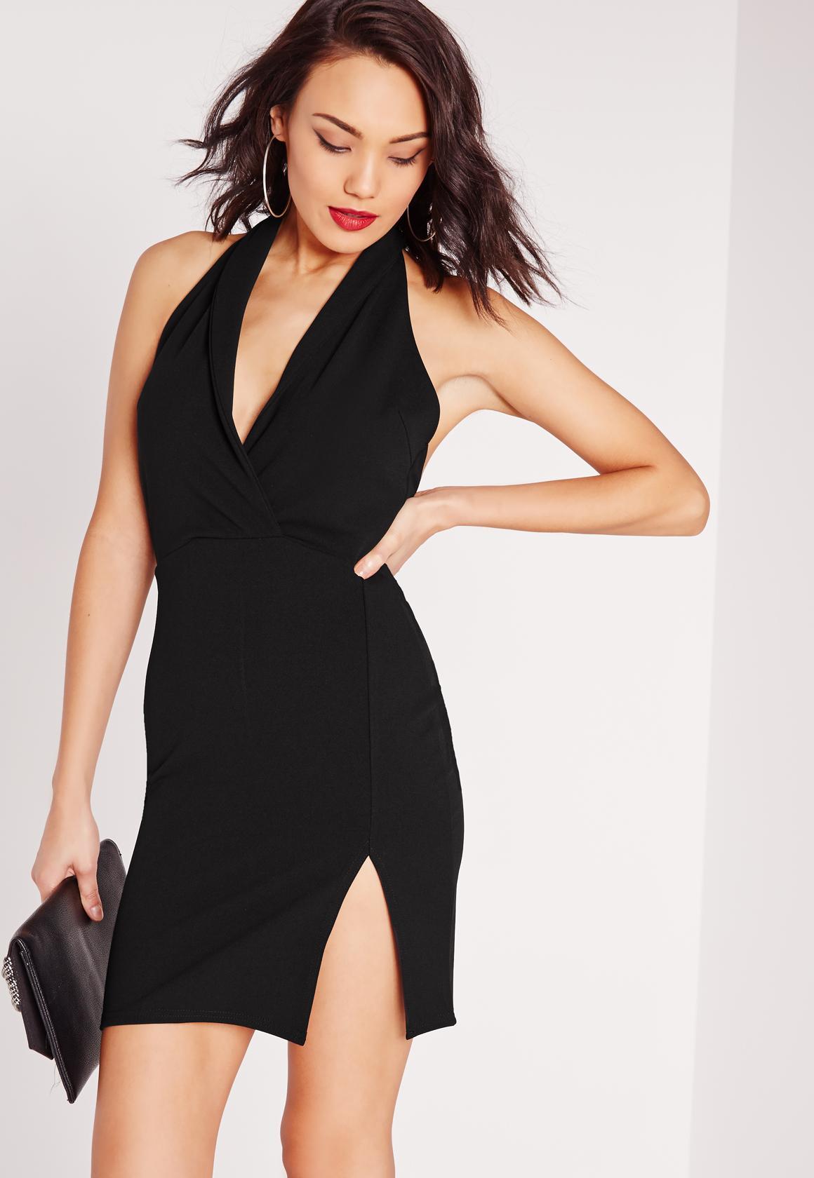 Black dress halter neck - Plunge Halterneck Mini Dress Black
