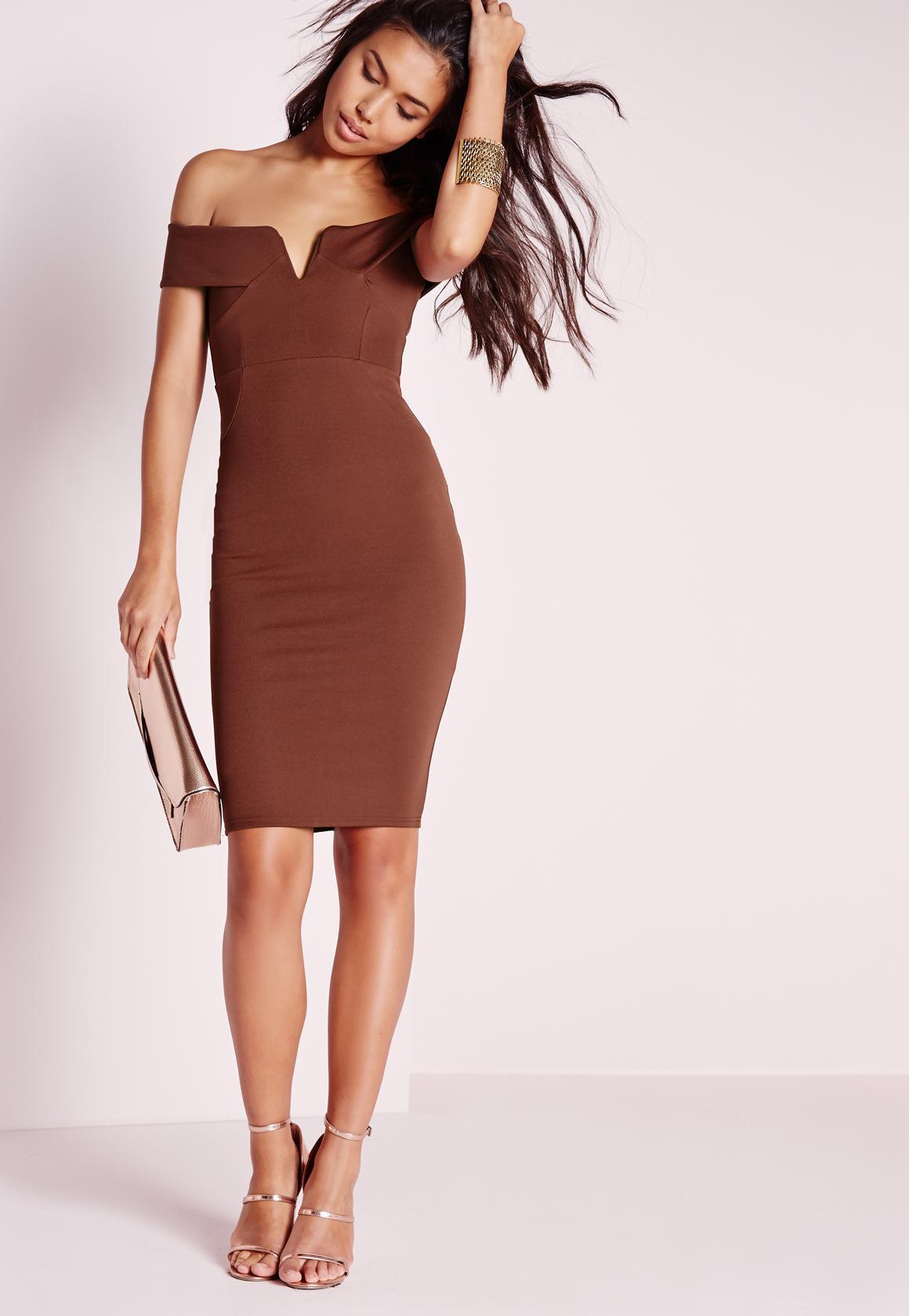 V Front Bardot Midi Dress Chocolate Missguided Timberland 14865xsbn 12 Coklat Rosegold