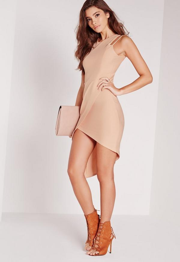 Double Strap Asymmetric Ribbed Midi Dress Nude