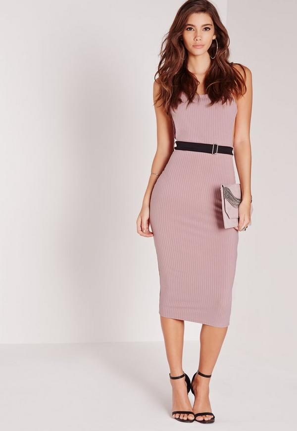Ribbed Belted Strappy Midi Dress Purple