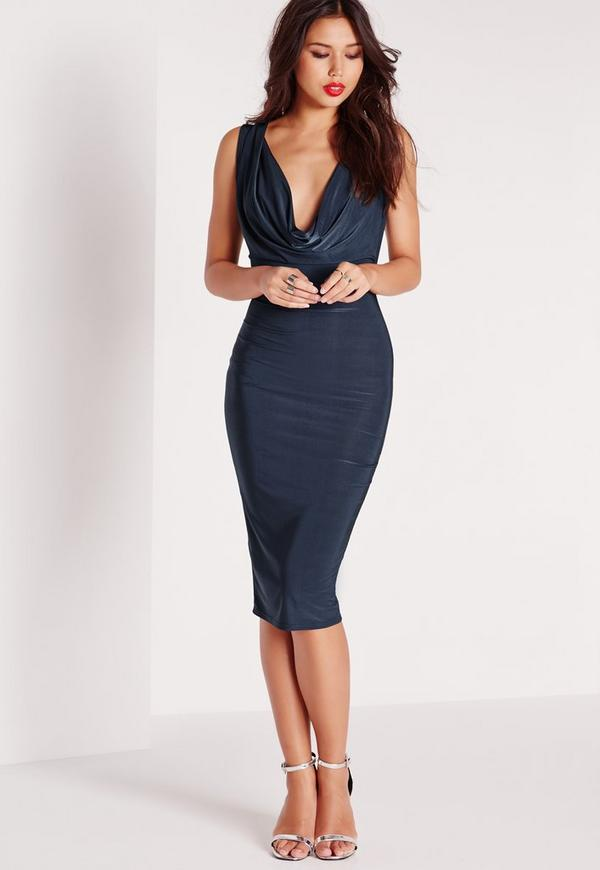 Slinky Cowl Front Sleeveless Midi Dress Navy