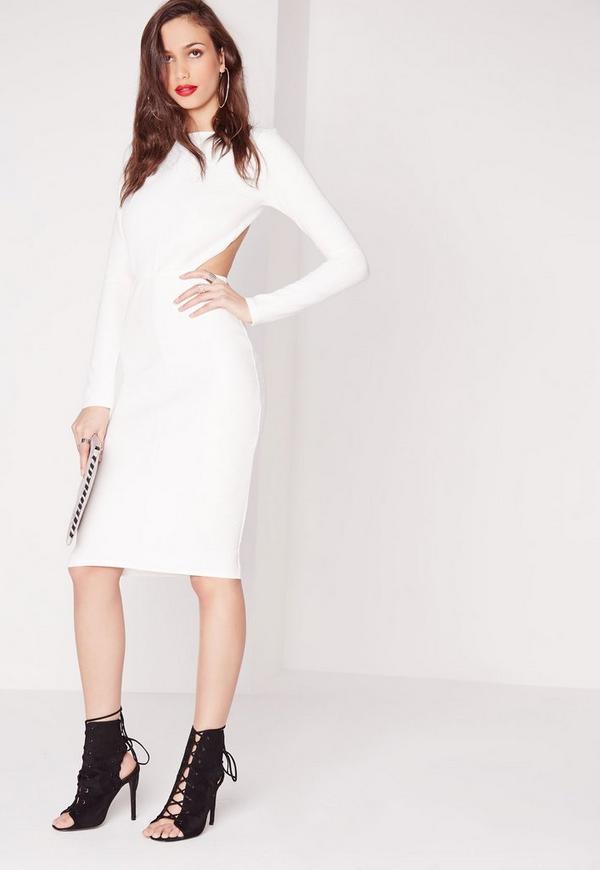 Textured Long Sleeve Open Back Midi Dress White